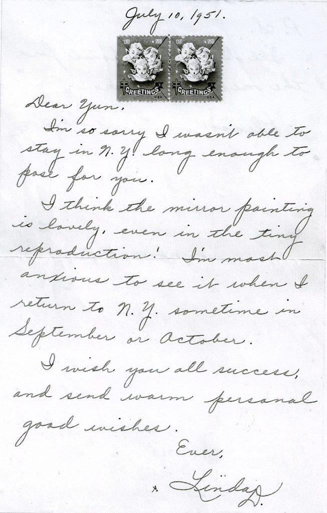Linda Darnell letter