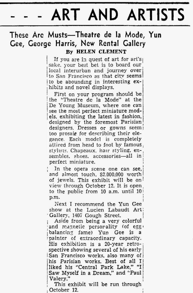 1946_09_22 Yun Gee Oakland Tribune (CA)