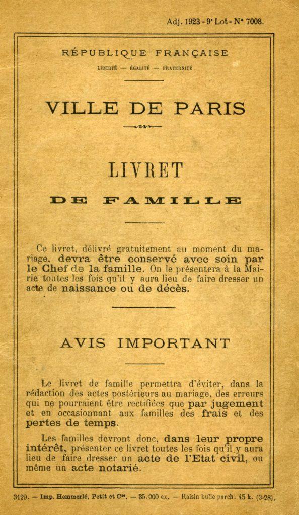 Yun Gee Paule Reuss Livret De Famille Paris France